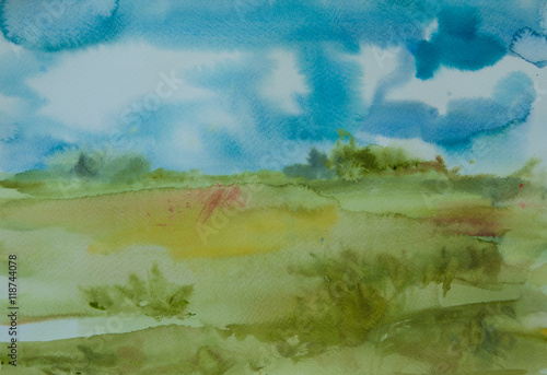 Foto op Canvas Lime groen Abstract field with blue sky , watercolor painting