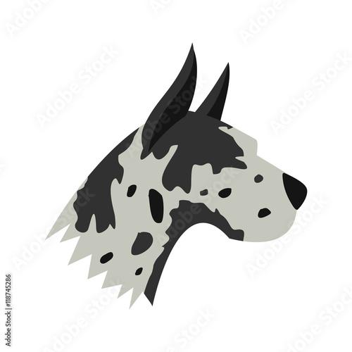 Fototapeta Great dane dog icon in flat style isolated on white background. Animals symbol obraz