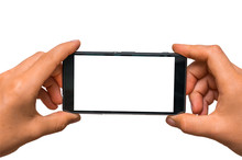 Taking Photo With Mobile Phone Of Blank White Screen