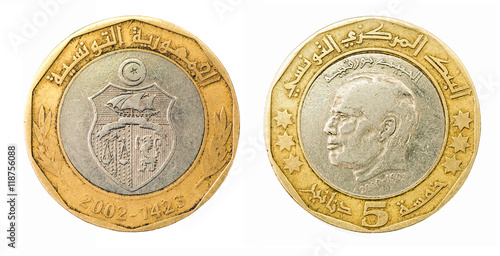 Fotografia  Coin five dinars. Tunisian Republic