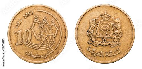 Fotografia  Coin 10 centimes. Kingdom of Morocco. 2002 year