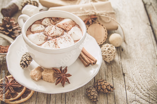Spoed Foto op Canvas Chocolade Hot chocolate with marshmallows