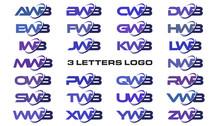 3 Letters Modern Swoosh Logo A...