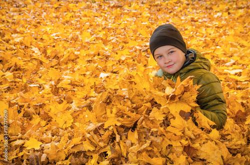 Fotografie, Obraz  Child in autumn leaves