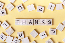Text Of THANKS On Wooden Cubes. Wood Abc