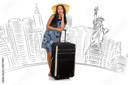 Foto op Plexiglas New York TAXI Young woman travelling to USA