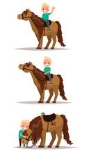 Set Boy With A Horse. Boy Riding On Horseback. Boy Hugging A Hor