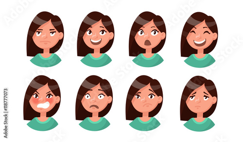 Fotografie, Tablou  Set of woman's emotions. Facial expression. Girl Avatar. Vector