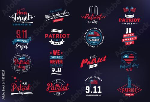 Fotografia  Patriot day vector typographic illustration