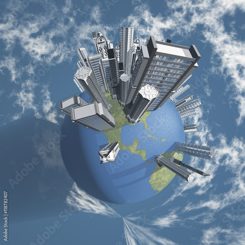 Foto  City Earth with Clouds Elements of this image furnished by NASA