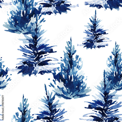 Stoffe zum Nähen Aquarell Weihnachtsbaum Musterdesign.