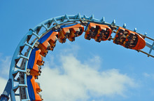 : Roller Coaster  Ride Filled  With Thrill Seekers