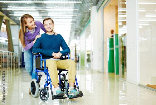 Fotografie, Obraz  Handicapped Man in Shopping Centre