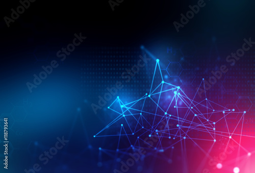 Fotografering  blue geometric  shape abstract technology background
