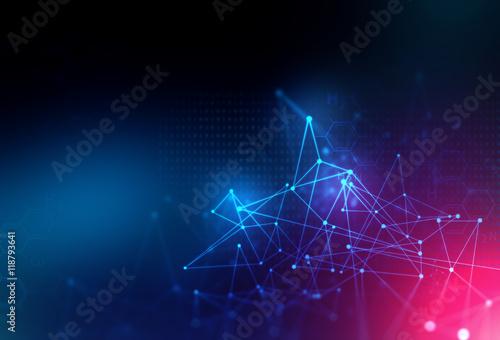 Fotografiet  blue geometric  shape abstract technology background