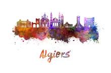 Algiers Skyline In Watercolor