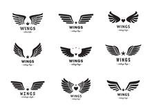 Wings Silhouette Logo Vector Set. Vintage Design. Part Two.