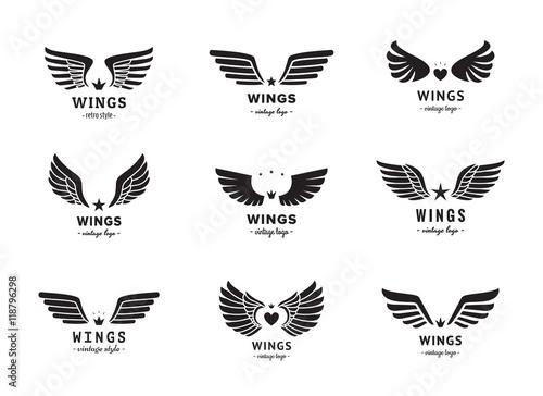 Fényképezés  Wings silhouette logo vector set. Vintage design. Part two.
