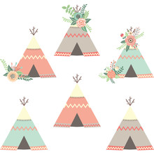 Floral Teepee Tents.Tribal Set