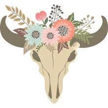 Bull Skull With Floral. Tribal Animal Skull