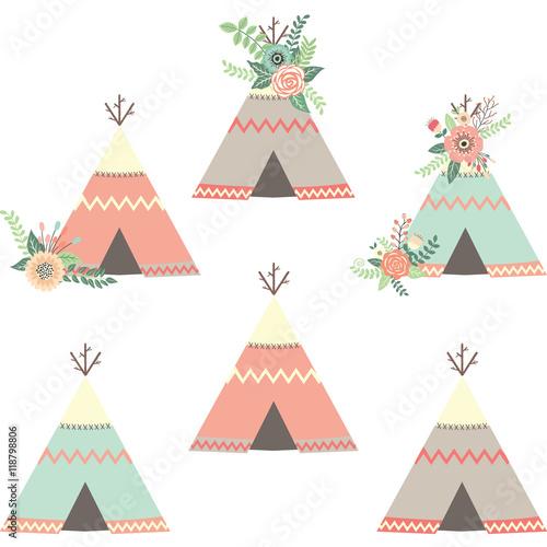 Cuadros en Lienzo Floral Teepee Tents.Tribal Set
