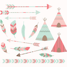 Pink Tribal Tee Pee Tents Set.Arrow,Border,Feather.Vector Illustration