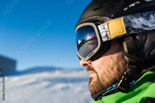 Fotografie, Obraz  Male skier with large oversized ski goggles