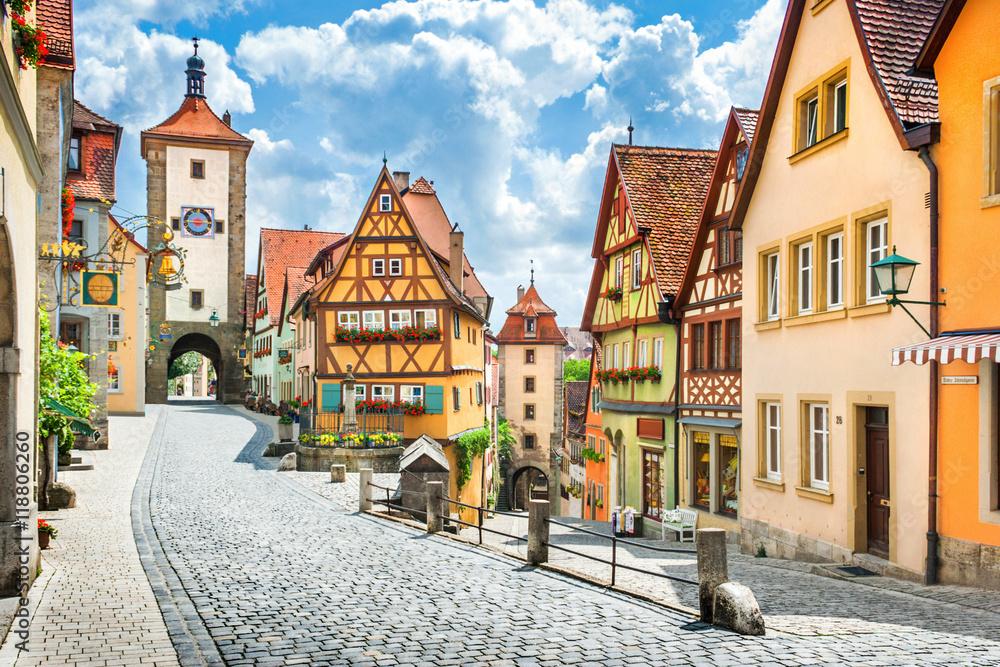 Fototapety, obrazy: Medieval town of Rothenburg ob der Tauber, Bavaria, Germany