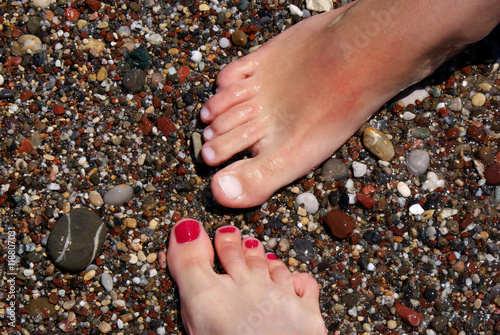 Fotografie, Obraz  Stopy na plaży