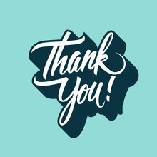 Thank You Handwritten Inscription. Hand Drawn Lettering. Thanks Card, Calligraphic Elements For Your Design. Vector Illustration.