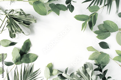 Poster Floral frame with flowers, branches, leaves and petals isolated on white background. flat lay, overhead view