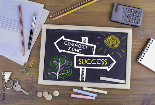 Fotografie, Obraz  Comfort Zone - Success signpost drawn on a blackboard