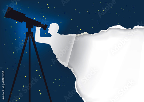 Astronomer with telescope background Canvas Print