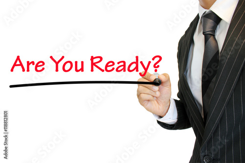 """Fotografía  """"Are you ready?"""" 準備万端か尋ねるビジネスマン a question written by a young businessman"""