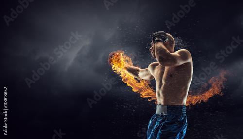 Fotografia Box fighter trainning outdoor . Mixed media