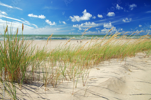 Spoed Foto op Canvas Noordzee Grass sand dune beach sea view, ventspils, latvia