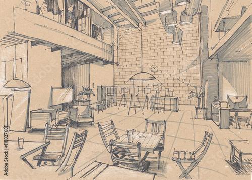 szkic-wnetrza-kawiarni