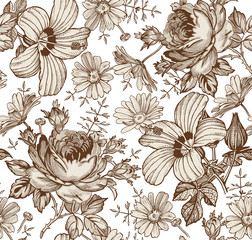 Fototapeta Egzotyczne Seamless pattern. Beautiful brown blooming realistic isolated flowers. Vintage background. Chamomile Rose hibiscus mallow wildflowers. Wallpaper. Drawing engraving. Vector victorian Illustration.