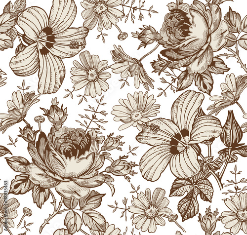 Seamless pattern. Beautiful brown blooming realistic isolated flowers. Vintage background. Chamomile Rose hibiscus mallow wildflowers. Wallpaper. Drawing engraving. Vector victorian Illustration. - 118835463