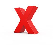 Red Letter X, 3d Illustration.