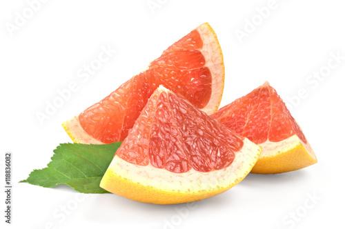 Fotografia  Three slices of grapefruit on white background, isolated fruit