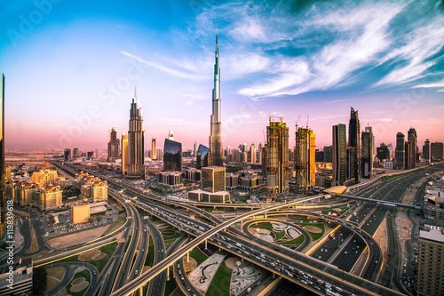 Dubai skyline with beautiful city close to it's busiest highway on traffic Wallpaper Mural