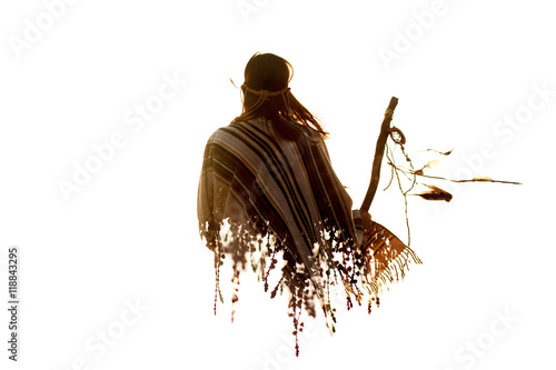 Fototapeta double exposure of native american indian woman and braches in s