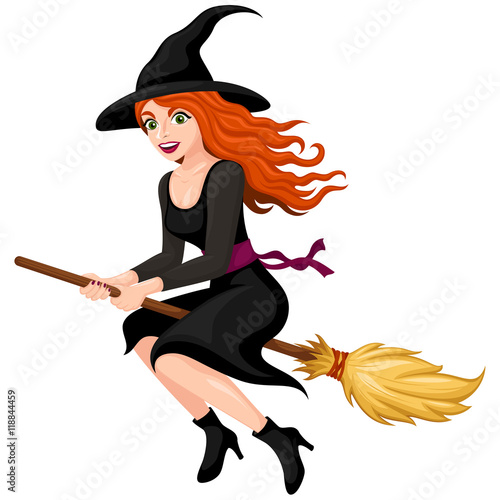 Fotografie, Obraz  Vector illustration of a pretty, red-haired cartoon witch flying on her broom