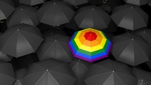 3d Rendering Umbrella With Rainbow Colors In Black Umbrellas Background