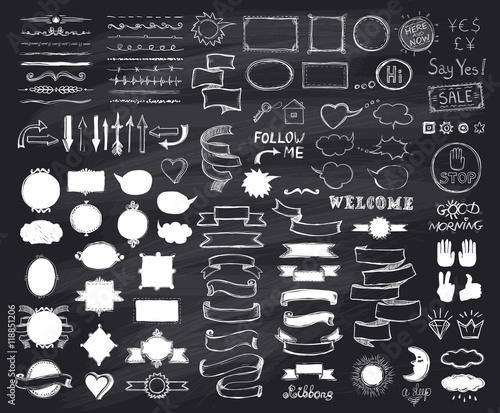 Fotografía  Chalk hand drawn sketch elements on chalkboard, vector  illustration, doodle gra