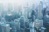 Fototapeta Nowy York - Snow in New York City - fantastic image,  skyline with urban sky