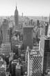 New York City, Manhattan downtown skyline, black and white