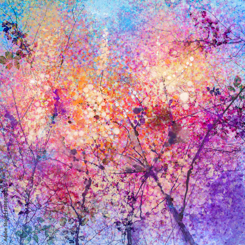 Abstract Watercolor Painting Of Spring Flowers Nature