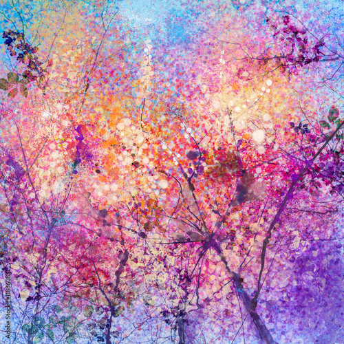 Aluminium Prints Salmon Abstract watercolor painting of spring flowers, nature background. Cherry blossom, pink flowers with blue sky. Hand painted landscape, spring season background
